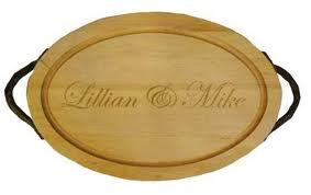 "$159.95 Personalized 18"" Wooden Oval Cutting Board"