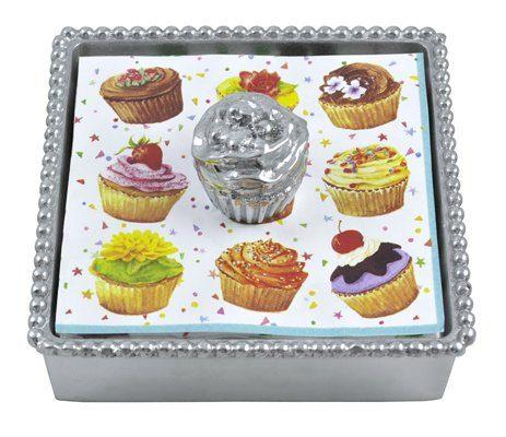 Hollyhocks Exclusives   Mariposa Beaded Napkin Holder with Cupcake $50.95