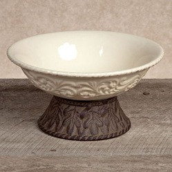 $108.95 Serving Bowl with Metal Pedestal ~ Cream