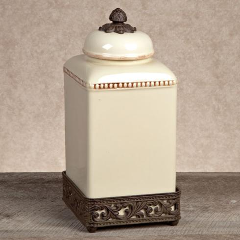 $89.95 Ceramic Canister with Metal Base ~ Large ~ Cream