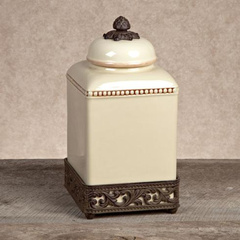 $73.95 Ceramic Canister with Metal Base ~ Medium ~ Cream
