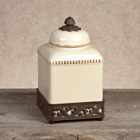 $66.95 Ceramic Canister with Metal Base ~ Small ~ Cream