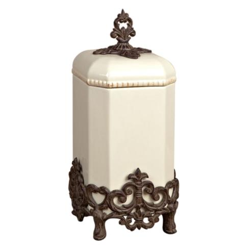 $135.95 Provencial Canister with Metal Base ~ Cream ~ 16""