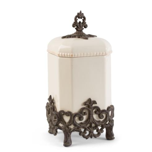 $130.95 Provencial Canister with Metal Base ~ Cream ~ 15""