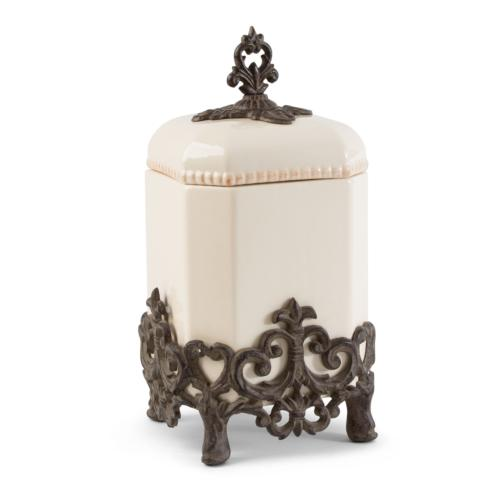 $126.95 Provencial Canister with Metal Base ~ Cream ~ 14""