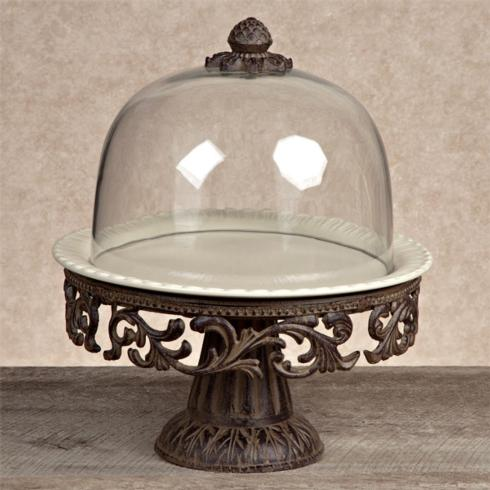 $281.95 Cake Pedestal with Dome and Plate ~ Cream