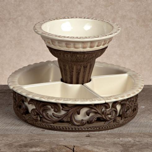 $258.95 Crudite Set with Metal Holder ~ Cream