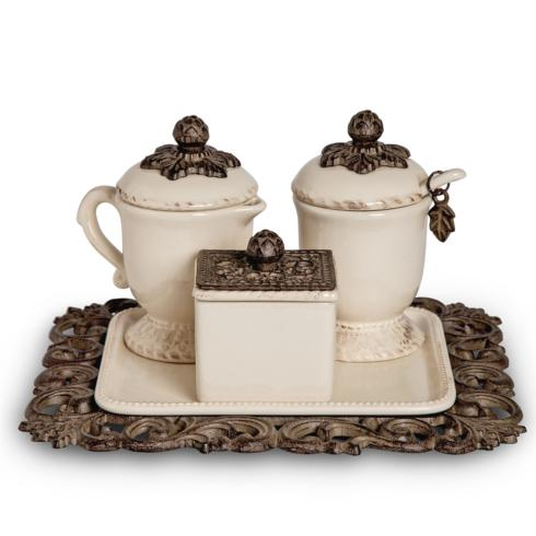 $130.95 Acanthus Leaf Cream, Sugar, and Sweetner Box Set ~ Cream