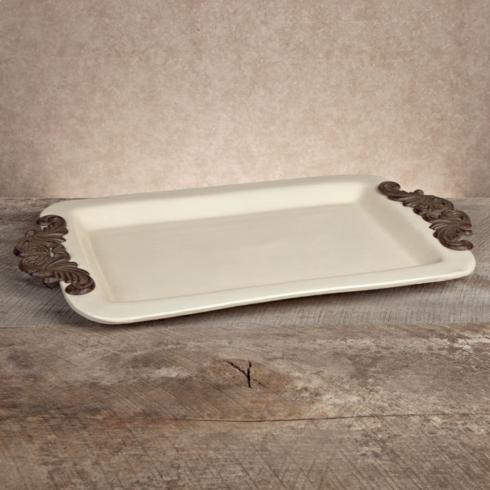 $94.95 Baroque Tray with Metal Handles ~ Cream