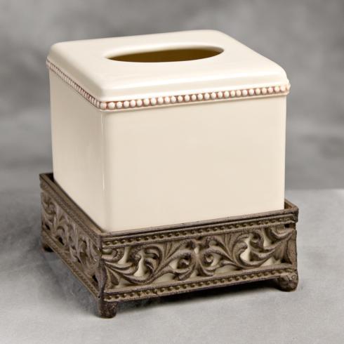 $76.95 Acanthus Tissue Box ~ Cream
