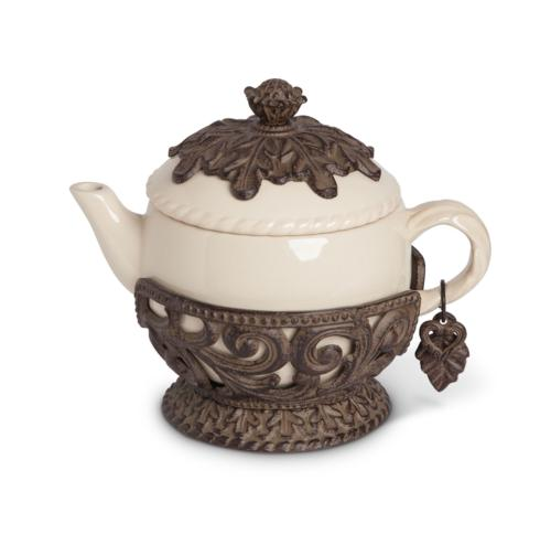 $96.95 Acanthus Leaf Teapot with Metal Base ~ Cream