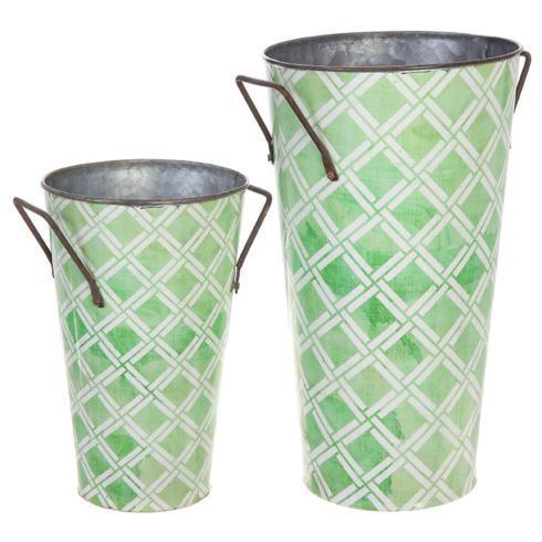 $18.95 Large Galvanized Bucket ~ Lattice Green