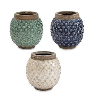 $16.95 Dotted Terracotta Planter ~ Blue
