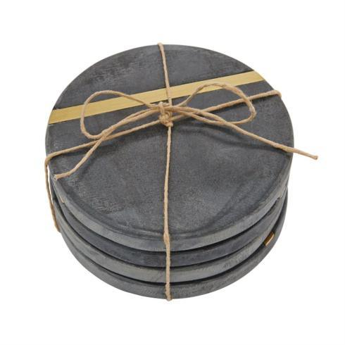 $20.95 Slate & Gold Round Coaster Set ~ Set of 4