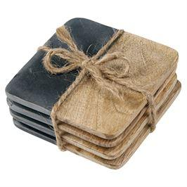 $20.95 Slate & Wood Coaster ~ Set of 4