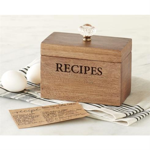 "$33.95 Wood "" Door Knob"" Recipe Box Set"