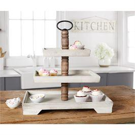 $90.95 Wooden White Wash Three Tier Server