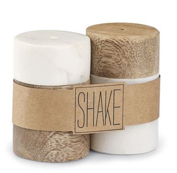 $21.95 Wooden and Marble Salt & Pepper Set