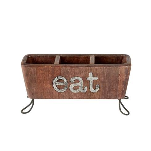 "$33.95 Wooden Flatware Caddy ~ ""Eat"""