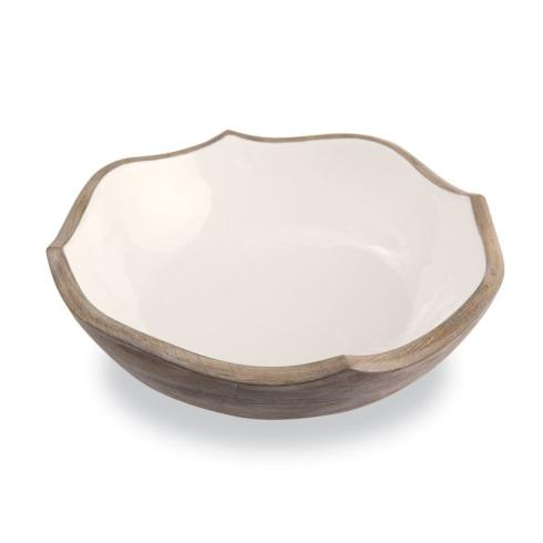 $55.95 Wood & Enamel Quatrefoil Bowl ~ White