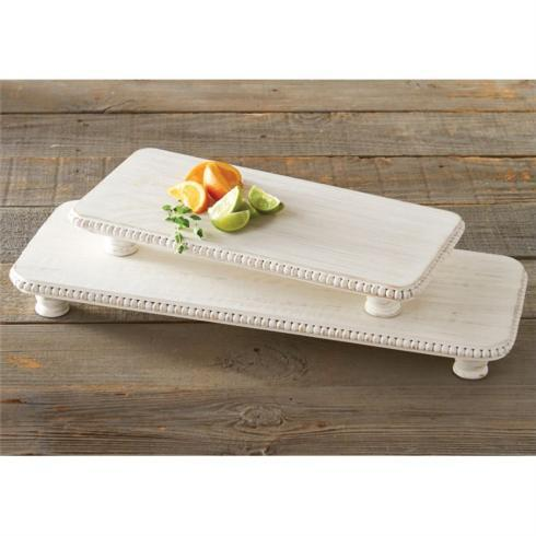 $33.95 Small Beaded Wood Serving Board ~ White