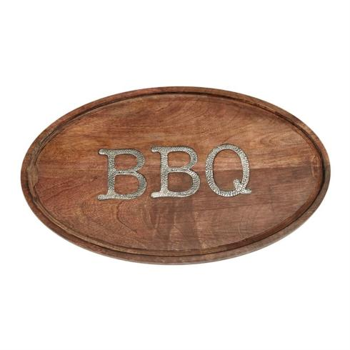 $45.95 BBQ Oval Wood Serving Board