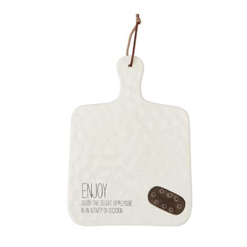 "$22.95 Ceramic Serving Board ~ Cream ~ ""Enjoy"""
