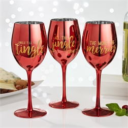 Two's Company   Metallic Red WIne Glass ~ Assorted Sayings $18.95