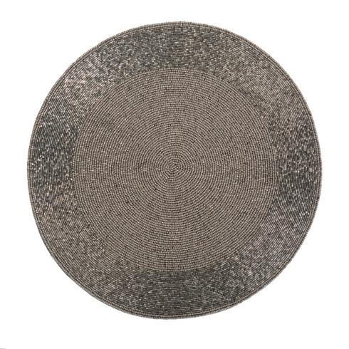 Hollyhocks Exclusives   Beaded Round Placemat ~ Silver $33.95