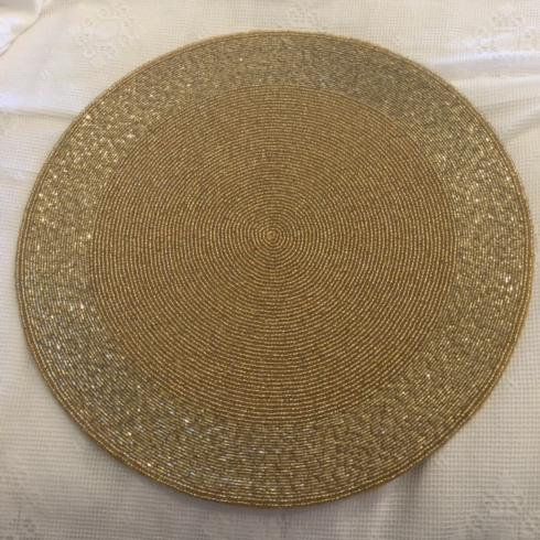 Hollyhocks Exclusives   Beaded Round Placemat ~ Gold $33.95