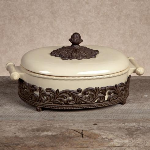 $281.95 Covered Casserole with Metal Base ~ Cream
