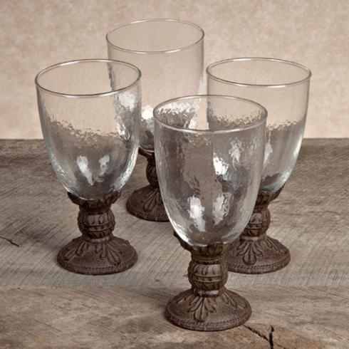 $198.95 Acanthus Leaf Water Goblet with Metal Stem ~ Set of 4