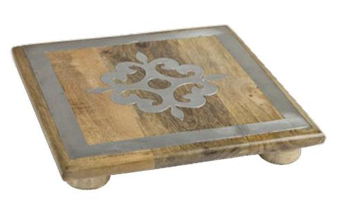$45.95 Wood Trivet with Metal Inlay