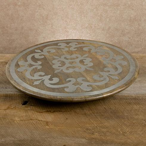 $198.95 Wood Lazy Susan with Metal Inlay