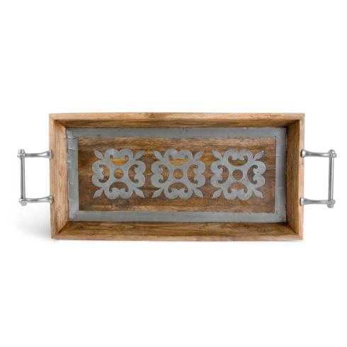 $153.95 Wood Tray with Metal Inlay