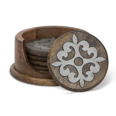 GG Collection   Heritage Wood Coaster Set with Metal Inlay ~ Set of 6 $54.95