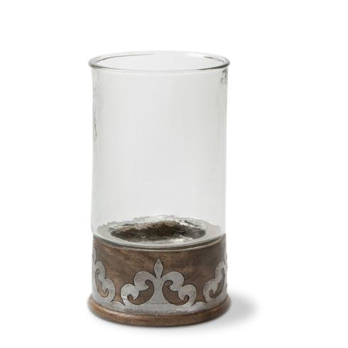 $81.95 Small Candle Holder with Wood & Metal Inlay