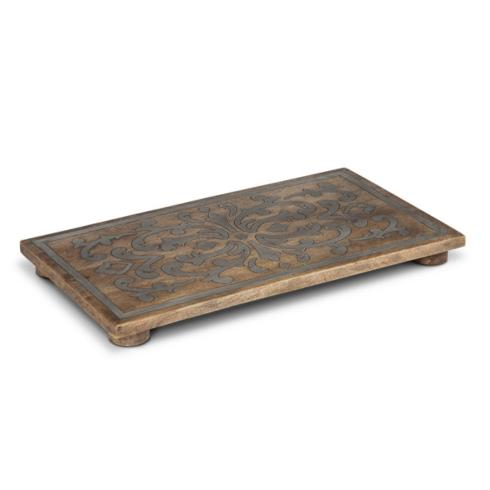 $101.95 Mango Wood with Metal Inlay Rectangle Trivet