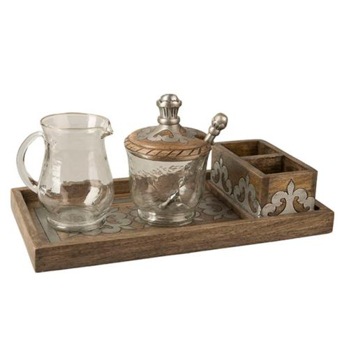 $168.95 Heritage Wood Cream & Sugar ~ Set of 4