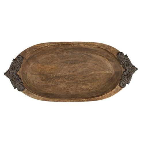 $153.95 Antiquity Wooden Bowl with Metal Handles