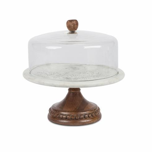 GG Collection   Etched Marble Cake Pedestal with Glass Dome $220.95