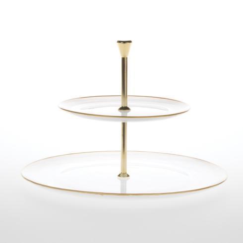 Hollyhocks Exclusives   Vietri Alabaster Glass Two Tier Server ~ White/Gold $98.00