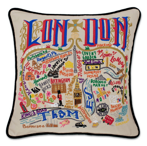 $184.00 London Hand-Embroidered Pillow with Black Piping