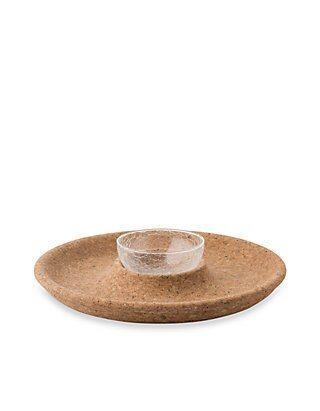 Hollyhocks Exclusives   Quinta Natural Cork Chip \'N Dip ~ 2 Piece Set $158.00