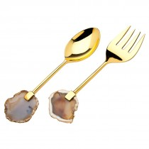 Two's Company   Agate Gold Serving Set ~ Set of 2 $59.95