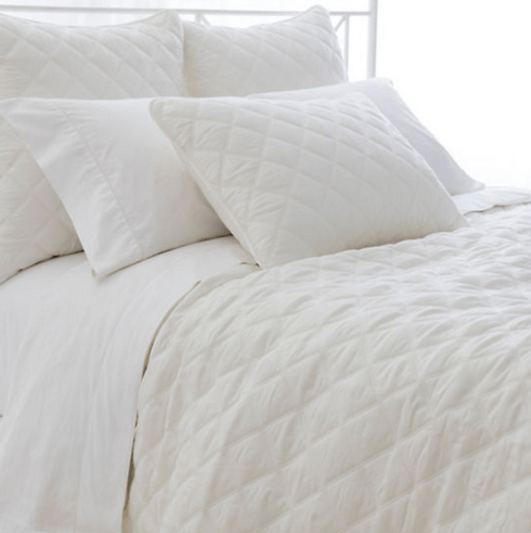 $240.00 Quilted Silken Solid Coverlet ~ Full/Queen ~ Ivory