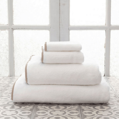 $28.00 Signature Banded Hand Towel - White/Linen