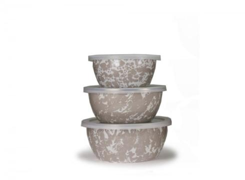 $33.95 Nesting Bowls with Lids ~ Set of 3 ~ Taupe