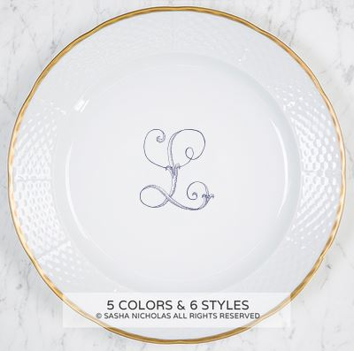 "$110.95 Weave Gold Rimmed Charger with Monogram ~ "" L"""
