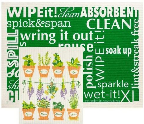 Hollyhocks Exclusives   Extra Large Wet-It Cloth Set ~ Herbs $16.95